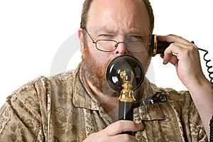 Man With Vintage Phone Royalty Free Stock Image - Image: 21337056
