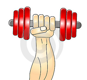 Illustration Of Muscleman Train His Arm Royalty Free Stock Image - Image: 21343576