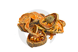 Slices Of Dried Bael Fruit On White Background Stock Photos - Image: 21344143