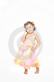 Cute Asian Girl Posing On Isolated White Backgroun Stock Photography - Image: 21346372