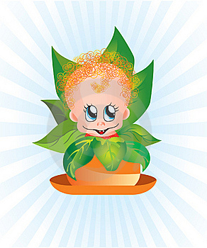 Curly Kid In A Flower Pot Royalty Free Stock Images - Image: 21346919