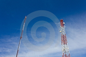 Antennas Transmit And Receive Signals. Stock Photo - Image: 21358340