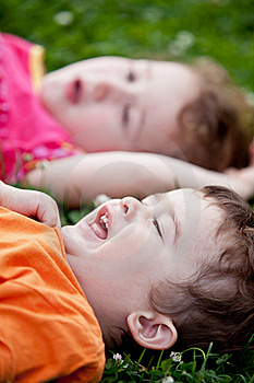 Girl With Boy Laughing On The Meadow Royalty Free Stock Image - Image: 21365616