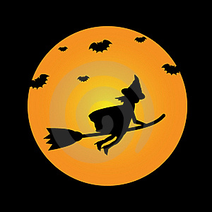Witch On Broomstick Stock Photos - Image: 21370923