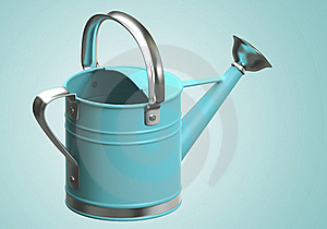 3D Watering Can Blue Stock Photo - Image: 21371770
