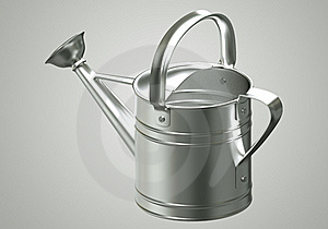 3D Watering Can Chromium Royalty Free Stock Photo - Image: 21371775
