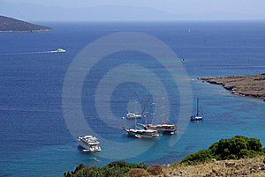 Yachts In The Aegean  Sea Royalty Free Stock Photo - Image: 21373375
