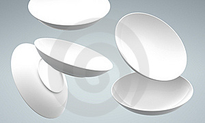 3D White Sphere Dish Fall And Spread Stock Photos - Image: 21374193
