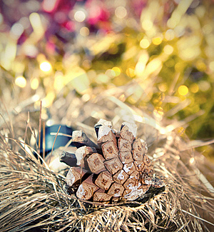 Christmas Border With Bauble And Pine Cones Royalty Free Stock Images - Image: 21379469