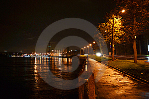 Night View Of Embankment In St Petersburg Stock Photos - Image: 21381953
