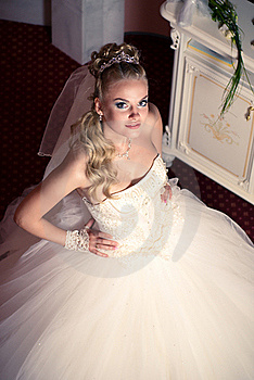 Portrait Of Cute Young Bride Wearing The White Via Stock Images - Image: 21382514