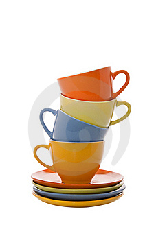 Colorful Cups Pyramidd Stock Image - Image: 21382971