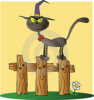 Halloween Witch Cat On A Fence Over Yellow Stock Photo - Image: 21383120