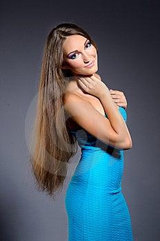 Girl In Blue Dress Professionally Makeup 1 Stock Photos - Image: 21384313