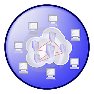 Cloud Computing Concept In Blue Circle Royalty Free Stock Photo - Image: 21385275