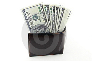 Money In Brown Leather Purse Stock Photography - Image: 21386932