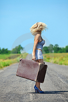 Womanl With Her Baggage Royalty Free Stock Image - Image: 21394046
