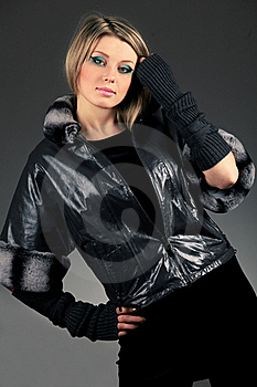 Woman In Leather Jacket Stock Photos - Image: 21394073