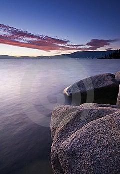 Tahoe Sunset Rocks Royalty Free Stock Image - Image: 21396526