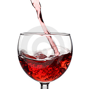 Stream of red wine