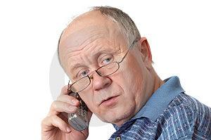 Uomo senior sul telefono Fotografia Stock