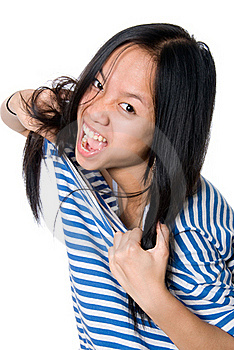 The Asian Girl Tears A Frock Royalty Free Stock Photo - Image: 21402785