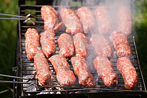 Barbecue With Mici Royalty Free Stock Photos - Image: 21404088