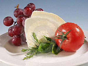 Mozarella On White Plate Royalty Free Stock Photos - Image: 21406528