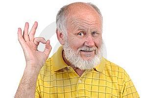 Senior Bald Man's Gestures Royalty Free Stock Image - Image: 21426576