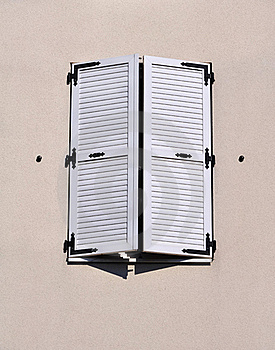 White Shutters Closed Royalty Free Stock Photography - Image: 21432337