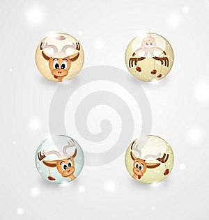 Four Glass Spheres With Funny Christmas Reindeers Stock Photo - Image: 21439440