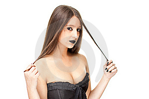 Attractive Woman In Gothic Clothing Royalty Free Stock Photo - Image: 21441435