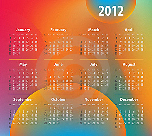 Calendar For 2012 Year On Colorful Background Stock Images - Image: 21446064