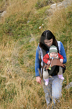 Trekking Mother With Baby Stock Photography - Image: 21447542