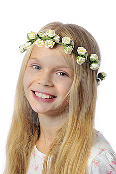 Little Blond Girl Smiling Royalty Free Stock Image - Image: 21452456