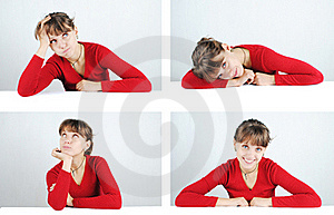 Young Woman In A Red Sweater Royalty Free Stock Images - Image: 21454189