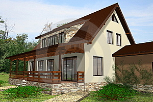 House 3D Render Stock Images - Image: 21455194