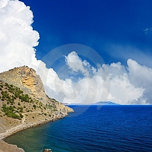 Landscape With Mountain And Sea Stock Image - Image: 21455571