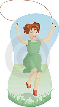 Girl Skipping Outdoors Stock Photography - Image: 21456102