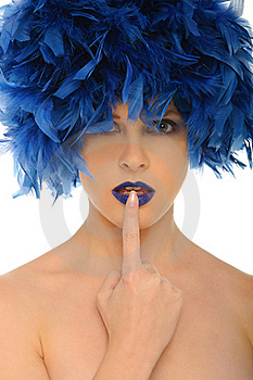 Woman With Blue Feathers Lips And Open Eyes Royalty Free Stock Photography - Image: 21457267