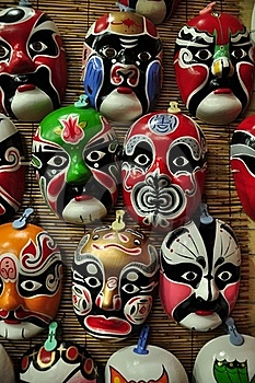 Chinese Opera Masks On A Wall Stock Photos - Image: 21459653