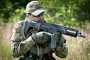 Special Forces Soldier Aiming Stock Images - Image: 21469864