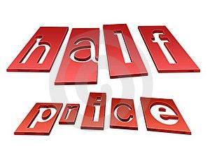 Half Price 3d Illustration Royalty Free Stock Photography - Image: 21471337