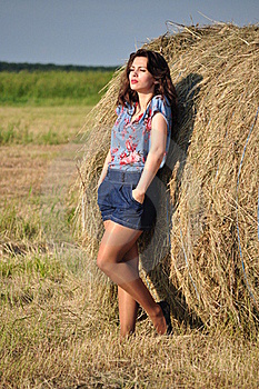 Beautiful Girl Near Haystacks Stock Photography - Image: 21493332