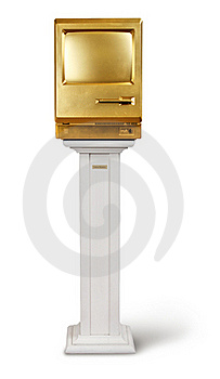 Golden Computer On Podium Royalty Free Stock Photography - Image: 21495577