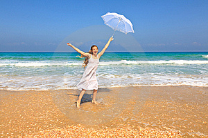 Woman On The Beach Stock Image - Image: 21500161