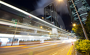 Fast Moving Traffic At Night Royalty Free Stock Photos - Image: 21504428