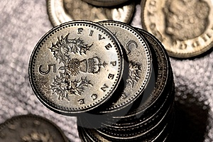 A Pile Of Five Pence Coins Stock Image - Image: 21511181