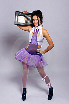 Freaky Woman With Old Fashioned Tape Recorder Royalty Free Stock Photos - Image: 21521668