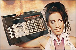 Freaky Woman With Old Fashioned Tape Recorder Stock Photo - Image: 21521680
